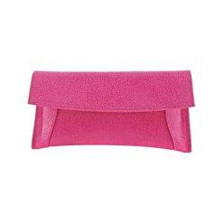 Kopertówki damskie: Skórzana kopertówka w kolorze różowym – (S)29 x (W)13 cm