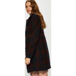 Desigual - Płaszcz. Szare płaszcze damskie wełniane marki Desigual, l, casualowe, z długim rękawem. W wyprzedaży za 499,90 zł.