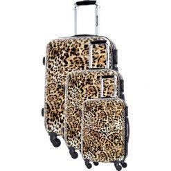 Walizki: Zestaw walizek w kolorze brązowym ze wzorem – 3 szt.