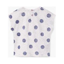 Mango Kids - Top dziecięcy Luna 80-104 cm. Szare bluzki dziewczęce Mango Kids, z bawełny, z okrągłym kołnierzem, z krótkim rękawem. W wyprzedaży za 29,90 zł.