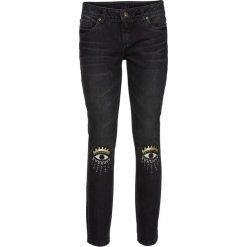 Dżinsy SKINNY z aplikacją bonprix czarny denim. Niebieskie jeansy damskie marki bonprix, z nadrukiem. Za 89,99 zł.