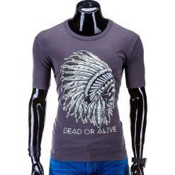 T-SHIRT MĘSKI Z NADRUKIEM S613 - GRAFITOWY. Szare t-shirty męskie z nadrukiem Ombre Clothing, m. Za 29,99 zł.