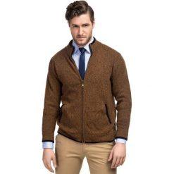 Sweter TOMASSO SWYR000128. Brązowe swetry rozpinane męskie Giacomo Conti, m, z poliamidu, klasyczne, z klasycznym kołnierzykiem. Za 229,00 zł.