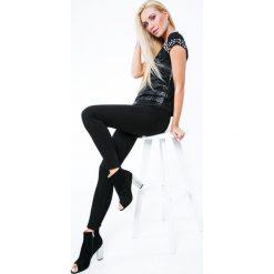 Spodnie z wysokim stanem: Spodnie z wysokim stanem czarne MP71723