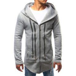 Bluzy męskie: Bluza męska z kapturem rozpinana szara (bx2345)