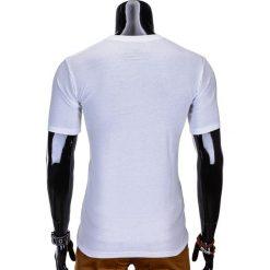 T-shirty męskie: T-SHIRT MĘSKI Z NADRUKIEM S815 – BIAŁY