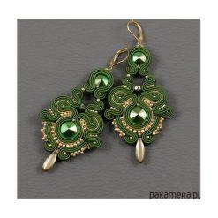 Biżuteria i zegarki: Zielono-złote kolczyki sutasz