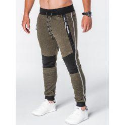 SPODNIE MĘSKIE DRESOWE P639 - KHAKI. Czarne spodnie dresowe męskie marki Ombre Clothing, m, z bawełny, z kapturem. Za 55,00 zł.