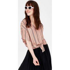 Koszule damskie: Koszula w paski z wiązaniem