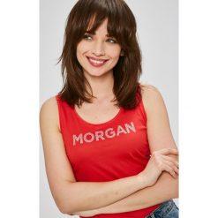 Morgan - Top. Różowe topy damskie marki Morgan, l, z nadrukiem, z bawełny, z okrągłym kołnierzem. W wyprzedaży za 59,90 zł.