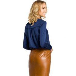 ROSALIE Bluzka koszulowa na stójce i z długim rękawem - granatowa. Niebieskie bluzki koszulowe Moe, z elastanu, z długim rękawem. Za 109,00 zł.