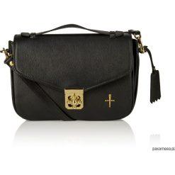 Skórzana torebka czarna złote dodatki Alessandra. Czarne kuferki damskie Pakamera, w paski, ze skóry, na ramię. Za 399,00 zł.