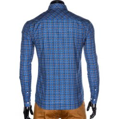 KOSZULA MĘSKA W KRATĘ Z DŁUGIM RĘKAWEM K421 - NIEBIESKA. Brązowe koszule męskie na spinki marki Ombre Clothing, m, z aplikacjami, z kontrastowym kołnierzykiem, z długim rękawem. Za 69,00 zł.