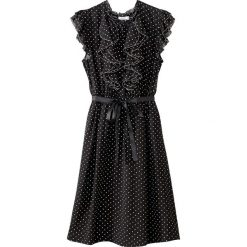 Sukienki hiszpanki: Rozszerzana sukienka w groszki, falbanki na dole