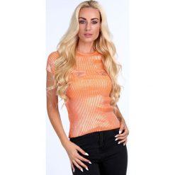 Bluzka z patkami pomarańczowa 3822. Brązowe bluzki z odkrytymi ramionami Fasardi. Za 39,00 zł.