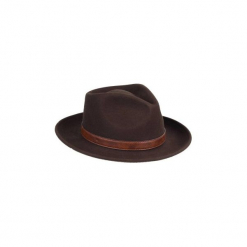 Kapelusz filcowy. Brązowe kapelusze damskie marki SOLOGNAC, z materiału. Za 79,99 zł.