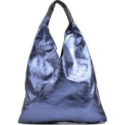 Torebki klasyczne damskie: Skórzana torebka w kolorze niebieskim – (S)37 x (W)46 cm