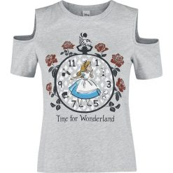 Alicja w Krainie Czarów Time For Wonderland Koszulka damska odcienie jasnoszarego. Szare bluzki z odkrytymi ramionami Alicja w Krainie Czarów, xxl, z nadrukiem, z okrągłym kołnierzem. Za 54,90 zł.