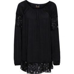 Tuniki damskie z długim rękawem: Tunika shirtowa z koronką bonprix czarny