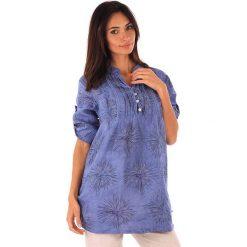 """Odzież damska: Lniana tunika """"Roma"""" w kolorze niebieskim"""