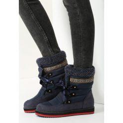 Granatowe Śniegowce Shake It Baby. Brązowe buty zimowe damskie marki vices, z materiału, ze szpiczastym noskiem, na wysokim obcasie, na obcasie. Za 109,99 zł.