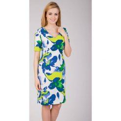 Biała sukienka z zielonym printem QUIOSQUE. Białe sukienki mini marki QUIOSQUE, w paski, z krótkim rękawem. W wyprzedaży za 66,00 zł.
