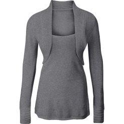 Sweter z bolerkiem 2 w 1 bonprix szary melanż. Szare swetry klasyczne damskie marki bonprix. Za 59,99 zł.