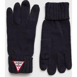 Guess Jeans - Rękawiczki. Czarne rękawiczki męskie Guess Jeans, z aplikacjami, z dzianiny. Za 119,90 zł.