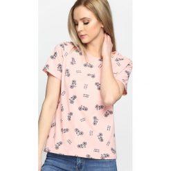 Różowy T-shirt Brooklyn Baby. Czerwone bluzki damskie marki Born2be, l. Za 19,99 zł.