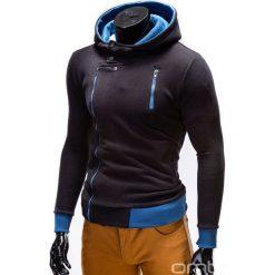BLUZA MĘSKA ROZPINANA Z KAPTUREM B297 - CZARNA. Czarne bluzy asymetryczne męskie marki Ombre Clothing, m, z bawełny, z kapturem. Za 89,00 zł.