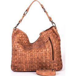 Torebki klasyczne damskie: Skórzana torebka w kolorze szarobrązowym – 35 x 32 x 9 cm