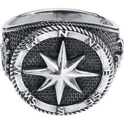EtNox Kompass Pierścień srebrny. Szare sygnety męskie etNox, srebrne. Za 144,90 zł.