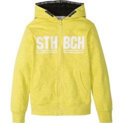Bluza rozpinana z kapturem bonprix żółty melanż z nadrukiem. Żółte bluzy dziewczęce rozpinane bonprix, melanż, z kapturem. Za 59,99 zł.