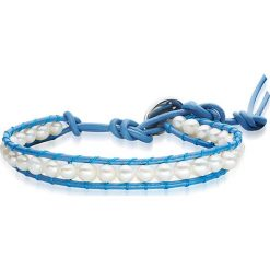 Bransoletki damskie: Skórzana bransoletka w kolorze niebiesko-białym z perłami słodkowodnymi