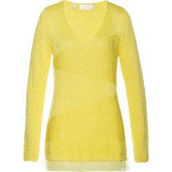 Swetry klasyczne damskie: Sweter z szyfonową wstawką bonprix jasna limonka