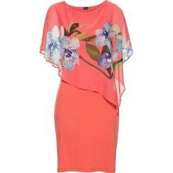 Bolerka i narzutki damskie: Sukienka z szyfonową narzutką bonprix różowo-koralowy – orchidee
