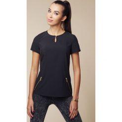 Bluzki asymetryczne: Czarna Bluzka z Krótkim Rękawem i Suwakami