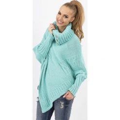 Miętowy Sweter-Ponczo z Golfem z Ozdobnymi Guzikami. Czerwone poncza marki Molly.pl, l, z jeansu, biznesowe, z dekoltem na plecach, z długim rękawem. Za 84,90 zł.