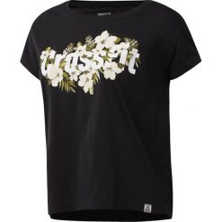 KOSZULKA REEBOK CF FLORAL READ EASY BLACK. Czarne bluzki z odkrytymi ramionami Reebok, z nadrukiem, z bawełny, z krótkim rękawem. Za 79,99 zł.