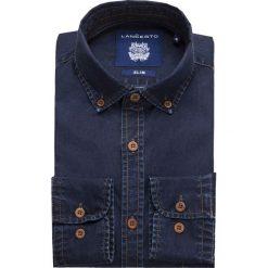 Koszula Jeansowa Granatowa Richmond. Brązowe koszule męskie jeansowe marki LANCERTO, m, z kontrastowym kołnierzykiem. W wyprzedaży za 199,90 zł.