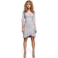 Sukienki: Szara Sukienka Kopertowa z Falbanką