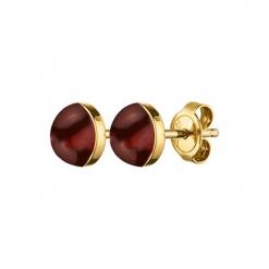 Kolczyki w kolorze złotym z jaspisem. Czerwone kolczyki damskie Dyrberg Kern, z jaspisem, ze stali. W wyprzedaży za 67,95 zł.