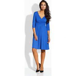 Sukienki: Chabrowa Sukienka Wizytowa z Kopertowym Dekoltem
