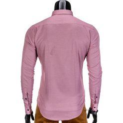 KOSZULA MĘSKA ELEGANCKA Z DŁUGIM RĘKAWEM K350 - CZERWONA. Brązowe koszule męskie marki Ombre Clothing, m, z aplikacjami, z kontrastowym kołnierzykiem, z długim rękawem. Za 49,00 zł.