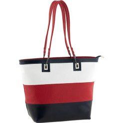Torebki klasyczne damskie: Skórzana torebka w kolorze biało-czerwono-granatowym – 40 x 30 x 15 cm