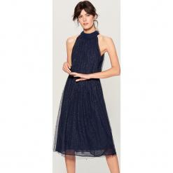 Sukienka koktajlowa z wiązaniem - Niebieski. Niebieskie sukienki z falbanami Mohito. Za 199,99 zł.