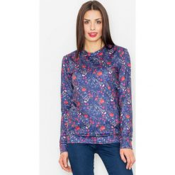 Bluzy damskie: Granatowa Klasyczna Bluza w Kolorowe Kwiaty