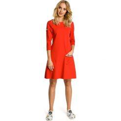 Sukienki: Sukienka trapezowa z kieszenią – czerwona