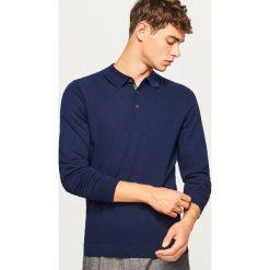 Sweter polo - Granatowy. Niebieskie swetry klasyczne męskie Reserved, l, polo. Za 99,99 zł.