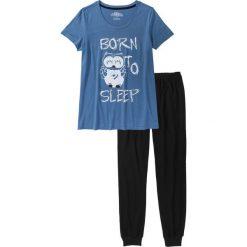 Piżamy damskie: Piżama bonprix czarno-niebieski dżins z nadrukiem